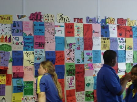 Lee Manor High School, Luton with Carnival Arts Creative Partnership - re-interpreting the school charter with symbols and lettering