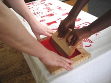 Stroud Green Primary - screen-printing project, create your own logo + class banner